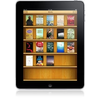 Apple iPad organise books in book shelf