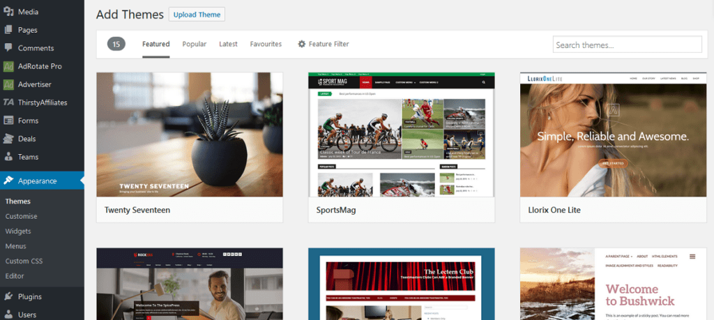 Adding New WordPress Themes