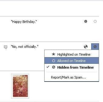 Facebook Timeline Edit options on Activity Log