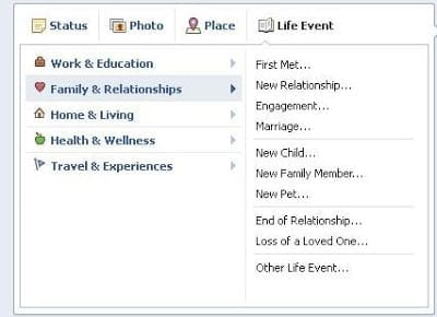 Facebook Like Event Options for Family and Relationships