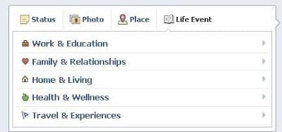 Facebook Life Event Options