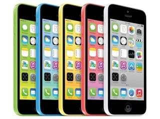 iPhone 5C showing all five colours
