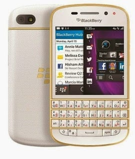 BlackBerry Q10 Gold and White