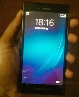 BlackBerry Z3 held in the left hand