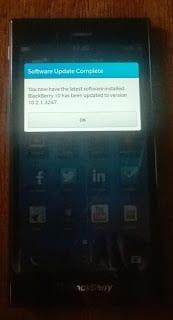 BlackBerry 10 update complete