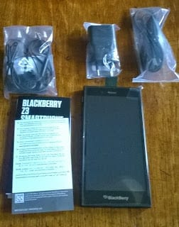 BlackBerry Z3 with accessories in wraps