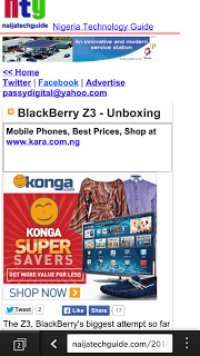 Z3 Browser showing the mobile site of NaijaTechGuide