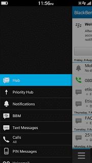 BlackBerry Hub Menu
