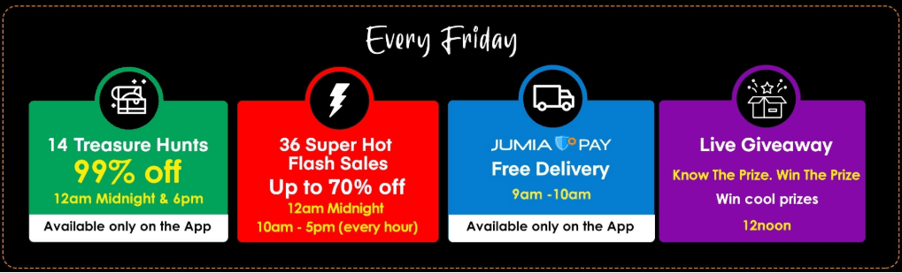 Treasure Hunt, Free Delivery, Flash Sale, and Live Giveaways for Jumia Black Friday 2019