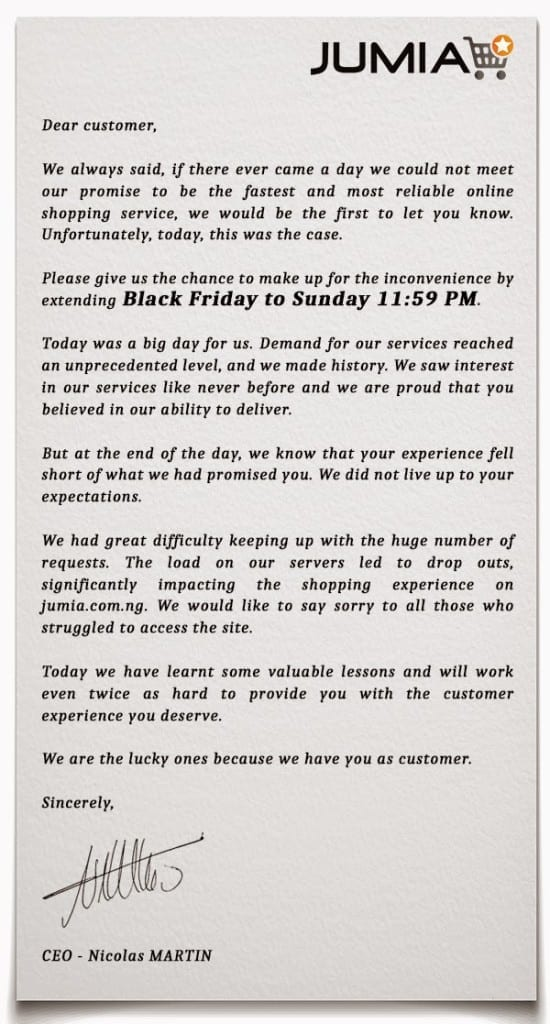 Jumia Black Friday Letter
