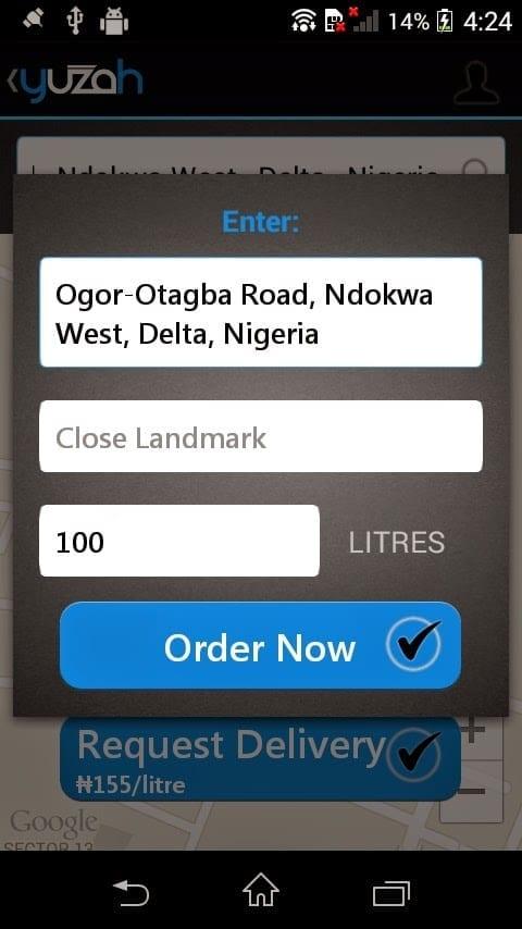 Order Diesel with Yuzah app