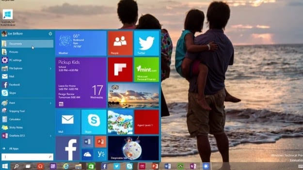 Windows 10 Start Menu with Live Tiles