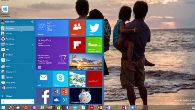 Windows 10 Start Menu with Live Tiles
