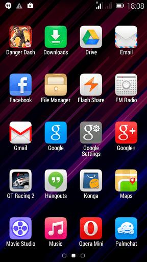 Infinix Hot Menu showing Apps