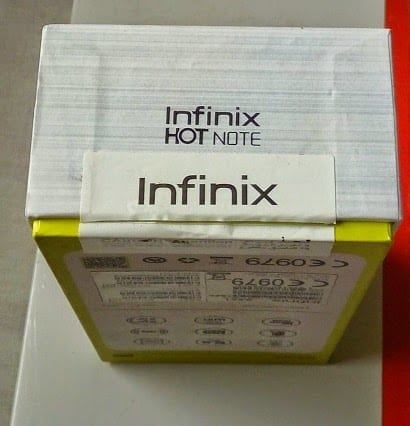 Infinix Hot Note Box Showing the adhesive tape