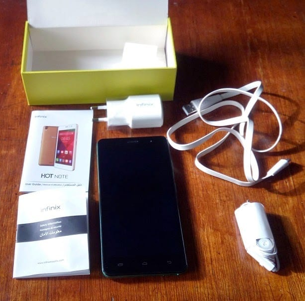 Infinix Hot Note with accessories and user manual