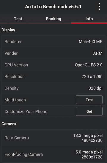 Wiko Getaway AnTuTu Display and Camera specs