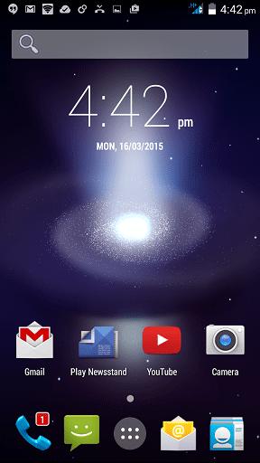 Wiko Getaway Home screen with Clock Widget