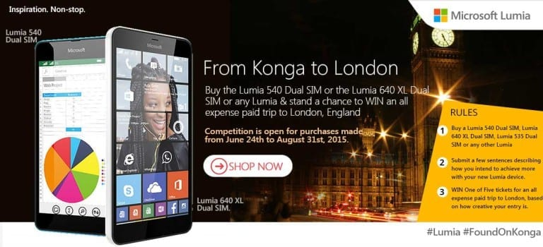 Buy the Lumia 640 XL, Lumia Phones from Konga for Trip to London