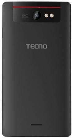 Tecno Camon5 rear showing 8MP Camera and dual-LED Flash