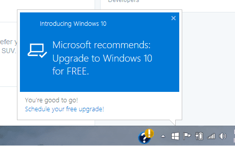 Windows 10 Upgrade Available Notification
