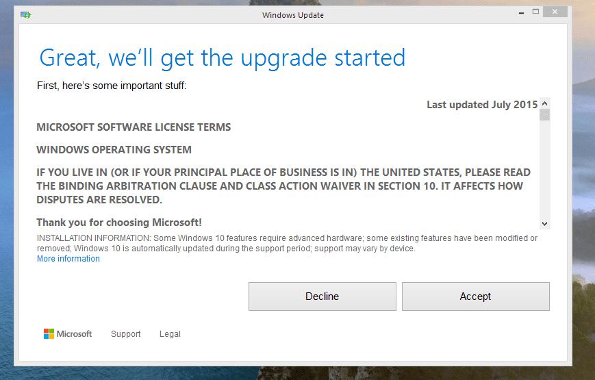 Windows 10 Terms