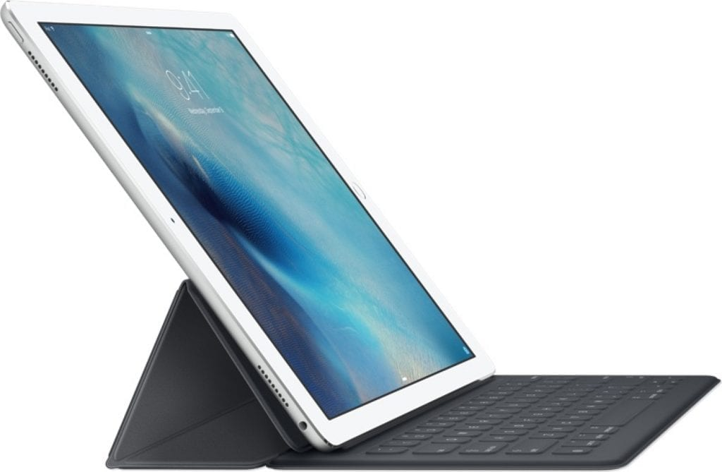 iPad Pro latched to a Smart Keyboard