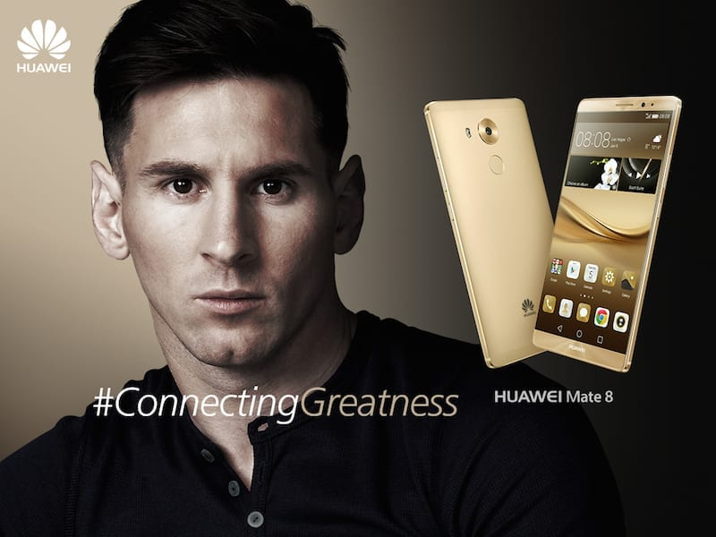 Lionel Messi and Huawei Mate 8