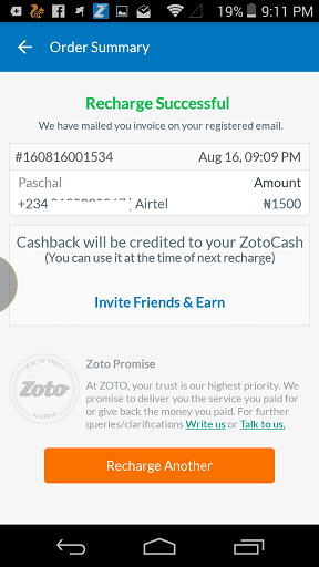 Zoto Airtime Success Page