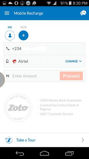 Zoto Mobile Recharge App UI