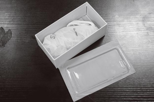 Gionee F103 Pro Box Open showing Accessories