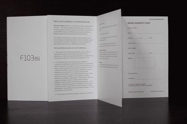 Gionee F103 Pro Warranty Card