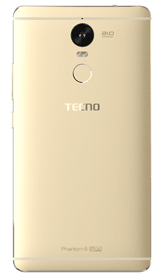 Tecno Phantom 6 Plus rear view showing the 21MP camera and fingerprint scanner