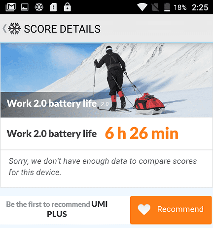 PCMark Work 2.0 Battery Life score for UMi Plus