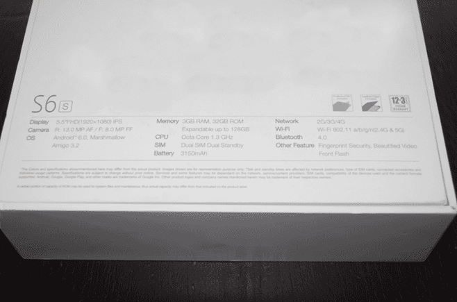 Gionee S6s Specs Panel
