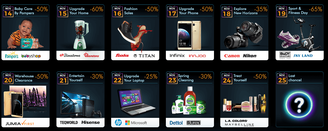 Black Friday Deals 2016 Calendar for Jumia Kenya