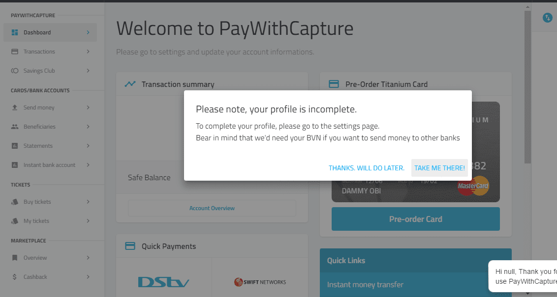PayWithCapture Welcome Page