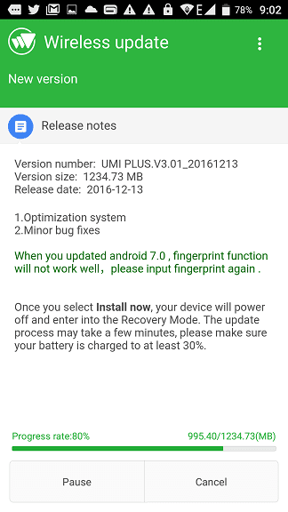 UMi Plus Android 7.0 (Nougat) update