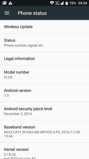Android 7.0 on UMi Plus