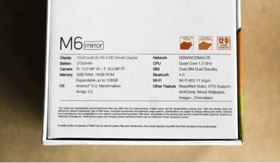 Rear of Gionee M6 Mirror Box showing Specs