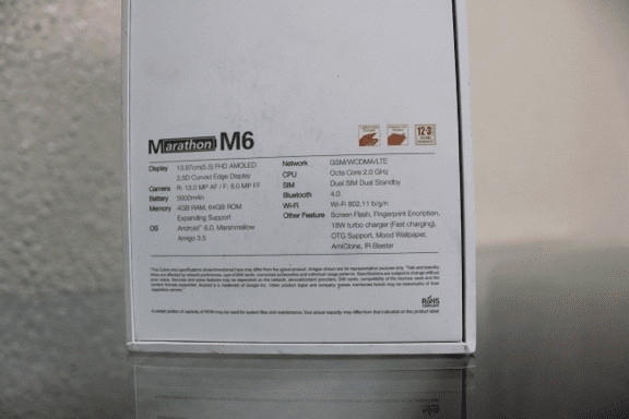 Gionee M6 Box showing specs