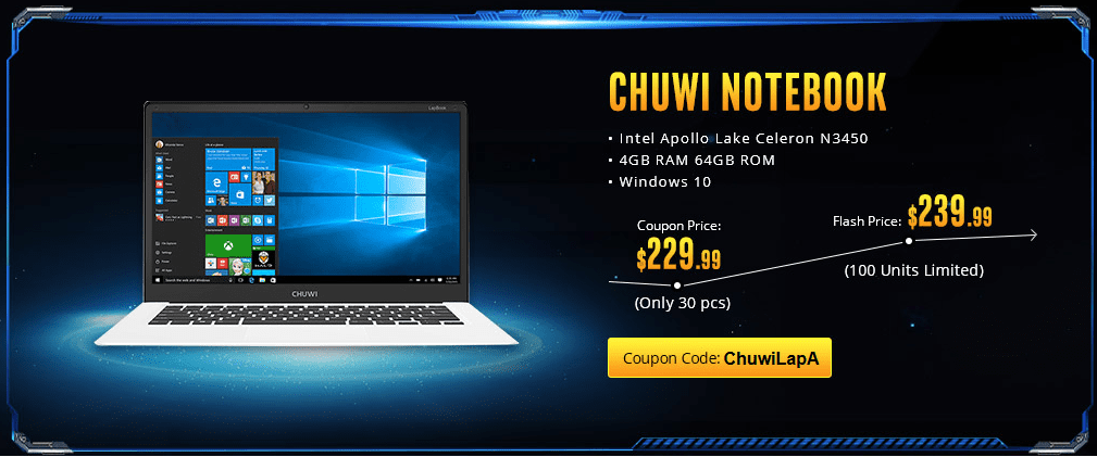 Chuwi Lapbook offer on Gearbest Power Notebook Sale