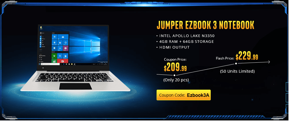 Jumper EZBook 3 offer on Gearbest Power Notebook Sale