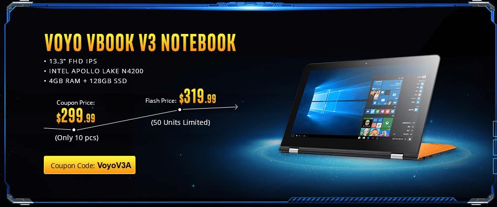 Voyo VBook V3 offer on Gearbest Power Notebook Sale