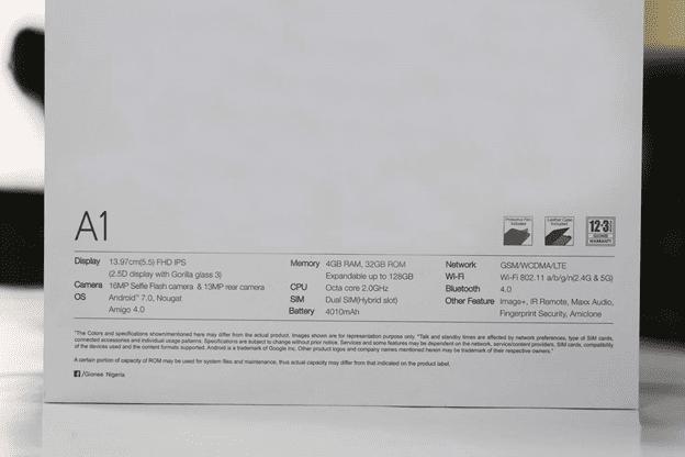 Gionee A1 Box listing Specs
