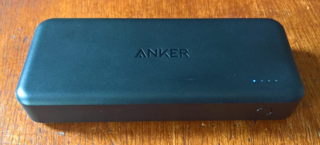 Unboxing Anker PowerCore II 20000 Power Bank showing the LED indicator