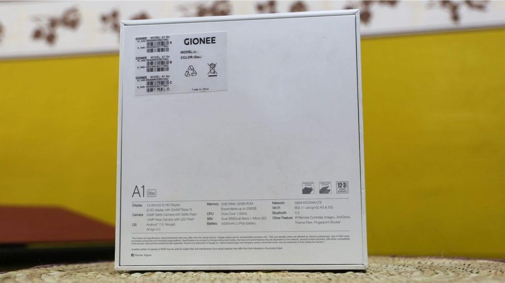 Gionee A1 Lite Box specs