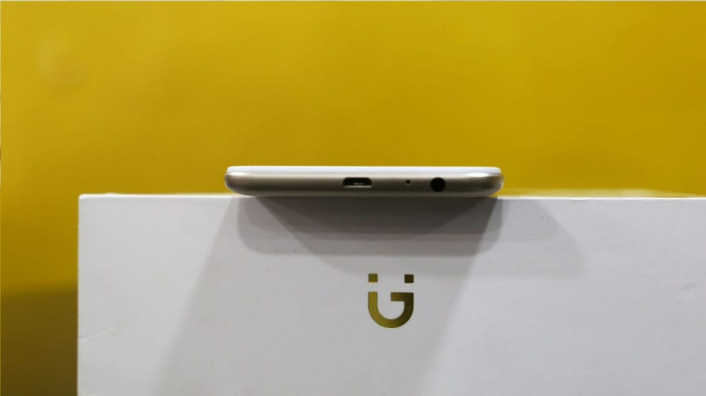 Gionee A1 Lite bottom showing the mouthpiece, USB port, and 3.5mm Audio jack