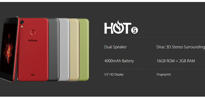 Infinix Hot 5 Smartphone Specs and Price