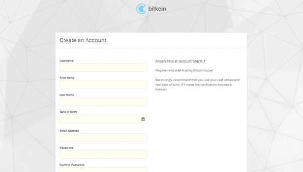 Create BitKoin Account